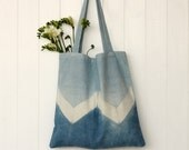 Geometric blue organic cotton shoulder bag / market tote