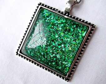 Green Square Pendant; Glitter Nail Polish Jewelry; Hand Painted Glass Square Pendant Necklace; Emerald Pendant; Glass Cabochon Pendant