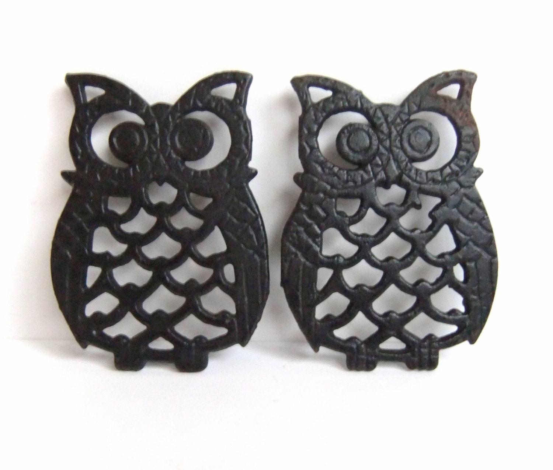 Black Owl Trivets Owl Decor Home Accessories Vintage Owl
