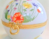 Vtg Porcelain Jewelry Trinket Box Hinged Sphere Embossed Gold Tone Trim Screen Printed Floral Design France White Orange Pink Wedding Gift