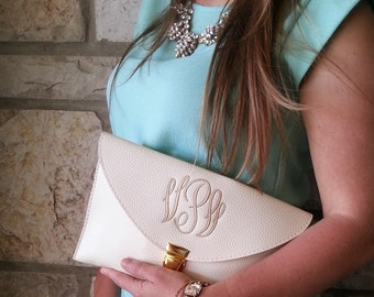 Monogrammed Faux Leather Envelope Clutch | Handbag | Purse | Multiple Colors | Perfect Bridesmaid/Graduation/Mothers Day Gift!