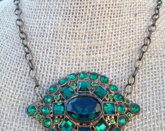 Statement Necklace featuring Emerald Colored Vintage Brooch