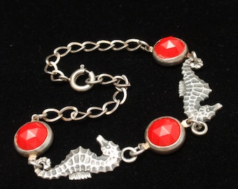 """Seahorse Bracelet Sterling Silver with Red Stones Vintage 7"""""""