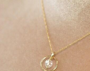 Gold bridal necklace, pearl drop necklace, crystal bridal necklace pearl, gold circle necklace - Ava