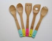 Bamboo Utensils Hand-Painted - Bamboo Utensils - Bamboo Spoons - Kitchen Utensils - Painted Utensils - Cooking Spoon