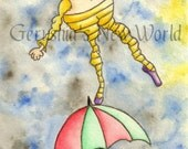 NEW - The Balancing Act - One of a Kind, Postcard Art, Original, Humpty Dumpty, Watercolor, Illustration