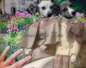 Keepers of The Garden Gate - Anthropomorphic, Collage, Print, Mixed Media, Dogs, Chiweenies