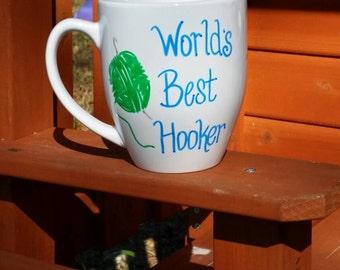 Coffee Mug, Crochet Mug, Funny Mug, Large Mug, Hand painted Stoneware mug
