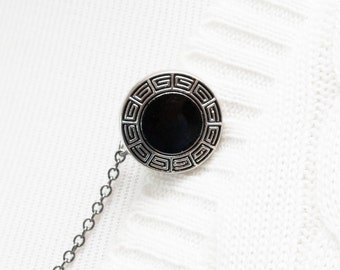 Sweater Clip - Black / Silver Greek Key Cardigan Clip