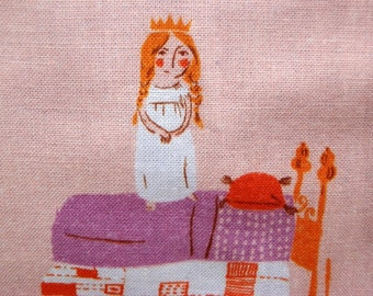 Princess & the Pea Child's Blanket, Heather Ross Fabric, Fairytale Lap Blanket, Princess Throw, Hand-Tied Quilt, Wall Decor, Cotton
