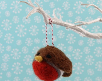 Robin Christmas Decoration Handmade Needle Felted ornament