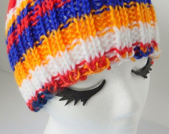 Hand knit toboggan, mandarin sunrise hat, sunrise tobaggan