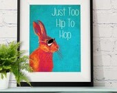 Too Hip To Hop Blue Rabbit Print Hare print Wall Art Wall Decor dorm room decor art print rabbit gift rabbit poster digital print