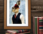 Horatio Hare in Waistcoat  Art Print Digital Illustration Poster steampunk picture Animal Painting Wall Decor Wall hanging Wall Art
