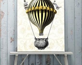 Hot air balloon décor - Baroque Balloon, Black and Yellow - Hot air balloon print Hot air balloon art home decor wall decor bedroom décor