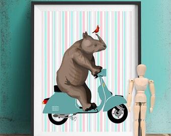 Rhino Print - Rhino on Moped  - Rhinoceros art print rhino riding moped rhino riding bicycle kid wall art safari nursery print jungle
