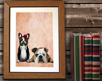 French Bulldog and English Bulldog, French bulldog print, frenchie print french bulldog art poster, illustration, picture, painting