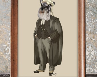 Miniature Schnauzer Lawyer Art Print Illustration Poster Wall Decor Wall hanging Wall Art Dog Print Law Print