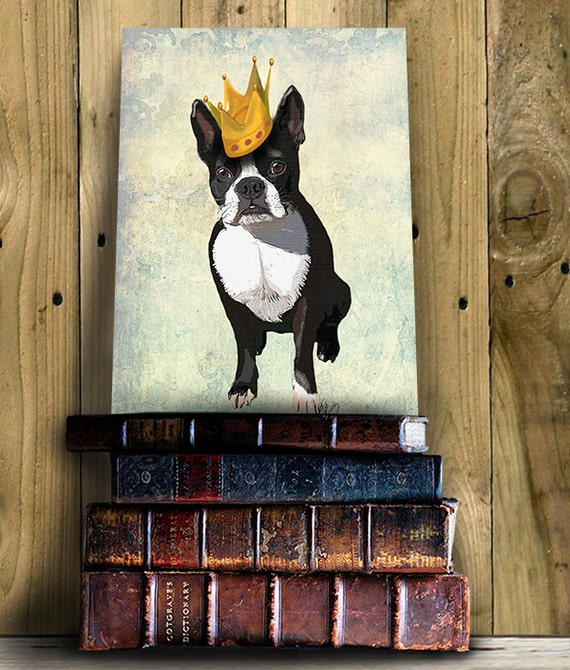 Boston Terrier Crown , boston terrier print, dog gift, dog lover, picture painting dog illustration art picture dog poster drawing