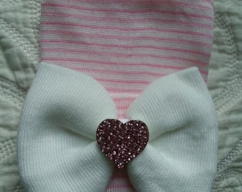 Pink and White Hospital Newborn Beanie with a White Bow and Pink Rhinestone heart for added Sparkle!  Newborn Hat, Baby Girl Hospital Hat