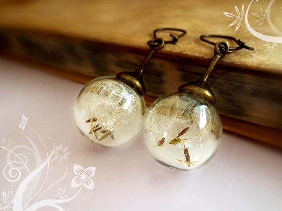 Dandelion earrings globe seeds make a wish vintage glass orb real flower nature romantic gift