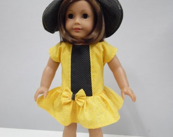 Yellow and Black Sundress and Hat