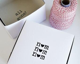 CAKE BOX / Heart nom nom nom, all gone / For Gifts, Favors, & More / Bulk Order Discount / Charitable Donation