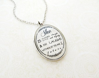 She Is Clothed With Strength and Dignity Bible Verse Pendant Necklace