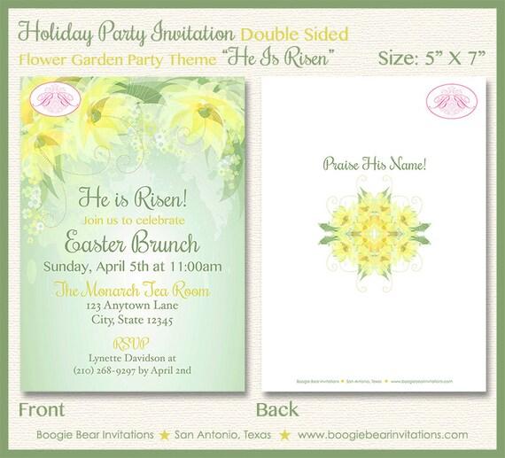Flower Green Garden Party Invitation Brunch Easter Spring Dinner 1st Boogie Bear Invitations He Is Risen