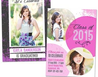 Senior/Graduation Announcement Card - Photoshop Template for Photographers (SEN02) - INSTANT DOWNLOAD