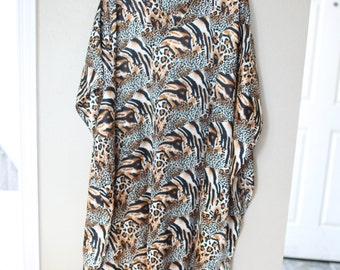 vintage leopard animal print oriental tunic caftan dress *