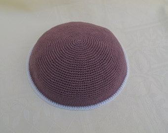 Light Brown and Cream Kippah. Handmade Crochet Kippah. Hand knitting Yarmulke. Light Brown Yarn of Cotton with Cream line at the edge.