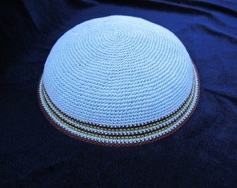 Light Blue Kippah. Handmade Crochet Kippah. Hand knitting Yarmulke. Light Blue Yarn of Cotton with Colorful design at the edge.Unique kippah