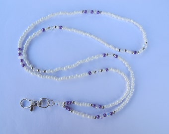 White, Purple and Silver lanyard. Handmade Beaded ID Badge Holder. Necklace ID Holder. Purple pearl Clear Crystals glass beads.