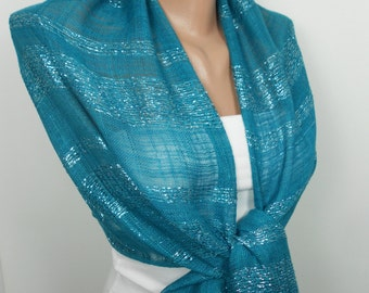 Teal Blue Scarf Shawl Sparkling Scarf Blue Wedding Women Fashion Accessories Spring Fall Winter Fashion Christmas Mothers Day Gifts For Her