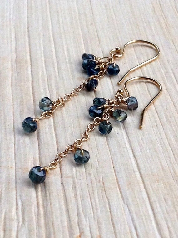 Blue Sapphire Earrings , Dangle Sapphires  Cascade , Genuine Sapphire , September Birthstone , Elegant , Minimalist