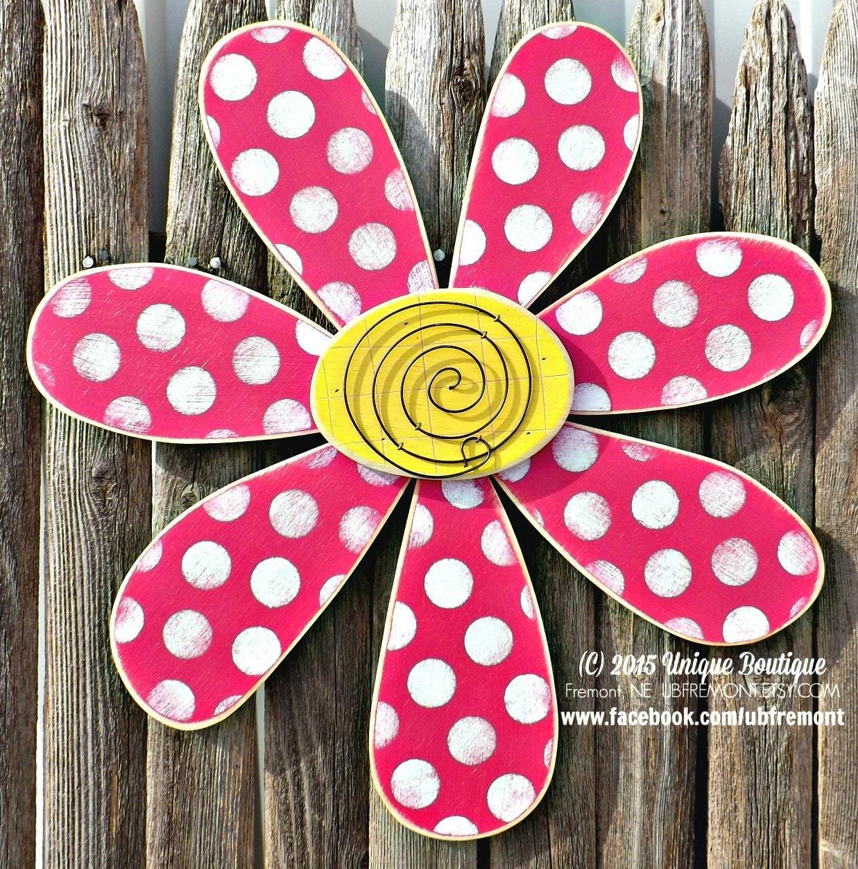 Flower door hanger hot pink polka dot by