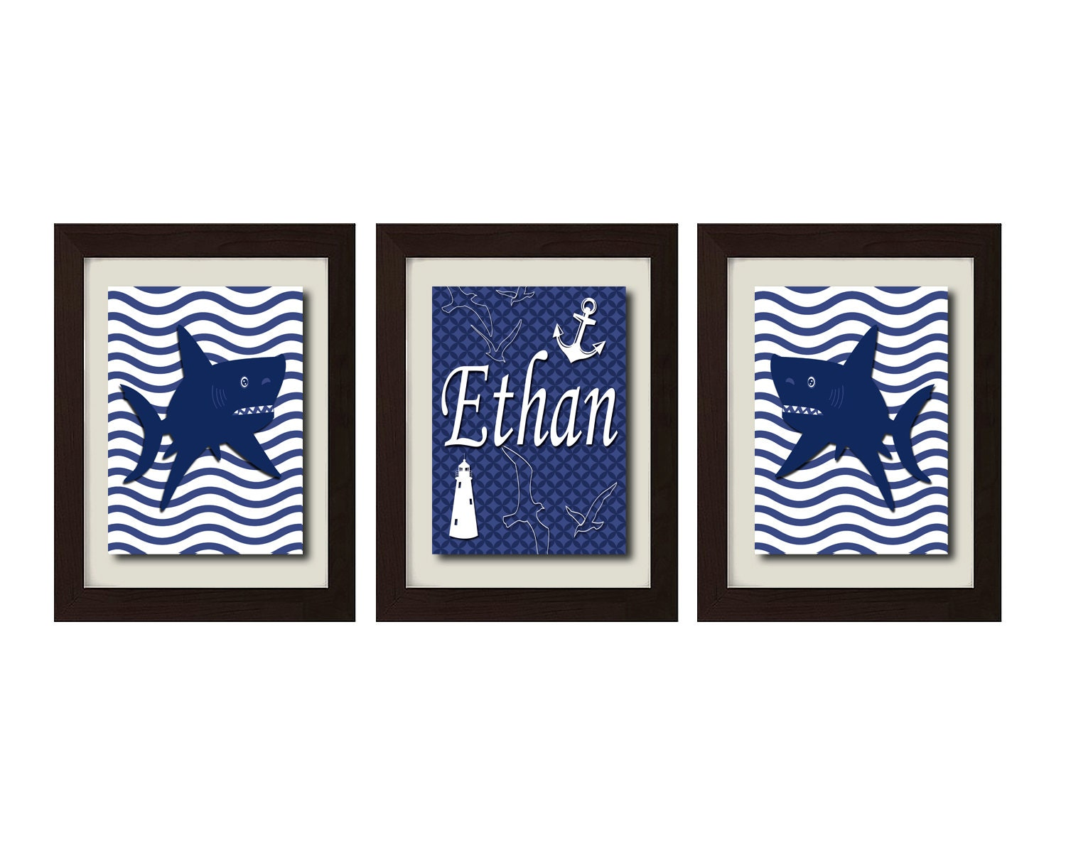Personalized Nautical Wall Decor : Personalized name print nautical decor nursery art