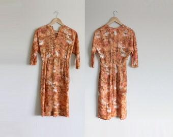 1960s Floral Dress | Wiggle Dress | Floral Wiggle Dress | Orange Wiggle Dress | Party Dress | Extra Small XS