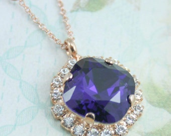 purple crystal necklace,swarovski crystal necklace,crystal necklace,purple wedding jewelry, purple necklace,purple bridesmaid,royal purple