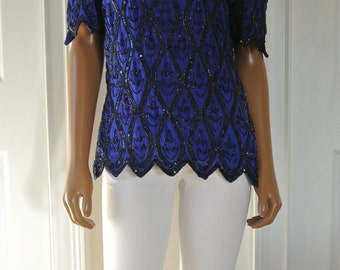 Deco Silk Blouse Cobalt Blue with Black Trophy Sequins Scalloped Short Sleeves/S