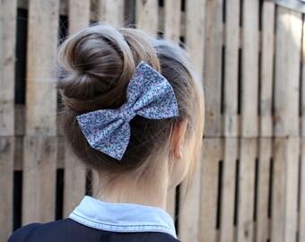 Blue Hair Bow. Ditsy Print Floral Hair Bow Clip. Blue Hair Bun Accessory. Bow Brooch. Bow Hair Elastic.