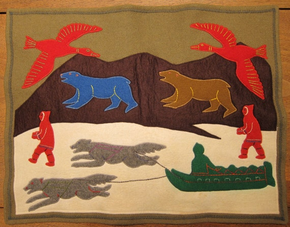 Vintage Canadian Inuit Art Hand Felted Wool Wall Hanging