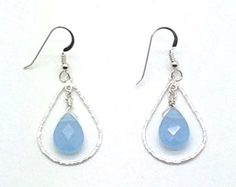 Briolette Earrings, Sterling Silver, Blue Chalcedony, Wire Wrap, Earrings, Gift Idea, Dangle Earrings, Romantic