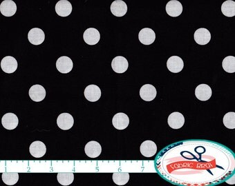 BLACK & WHITE POLKA Dot Fabric by the Yard Fat Quarter White Dots on Black Fabric Black White Fabric 100% Cotton Fabric Quilting Fabric w1-7
