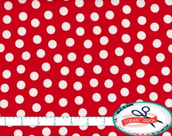 RED & WHITE Fabric by the Yard, Fat Quarter RED Polka Dot Fabric Red Fabric Quilting Fabric Material Apparel Fabric 100% Cotton Fabric a2-27