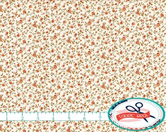 RUST & CREAM FLORAL Fabric by the Yard, Fat Quarter Vintage Style Fabric 100% Cotton Fabric Rust Quilting Fabric Apparel Fabric Yardage w9-6