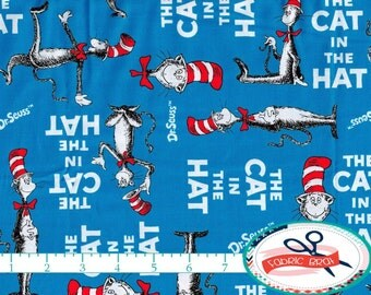 THE CAT in the HAT Fabric by the Yard, Fat Quarter Dr. Seuss Fabric Robert Kaufman Fabric 100% Cotton Fabric Quilting Fabric Yardage t5-3