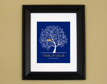 Personalized Wedding Gift - Bridal Shower Gift - First Anniversary - Engagement Present - Love Birds in Tree - 8x10 or 11x14 Art Print