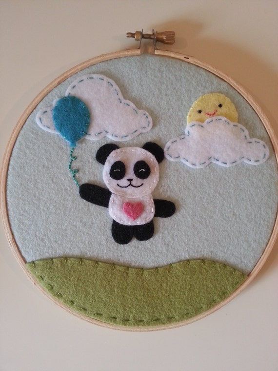 Felt panda bear nursery decor hoop wall art kawaii for Panda bear decor